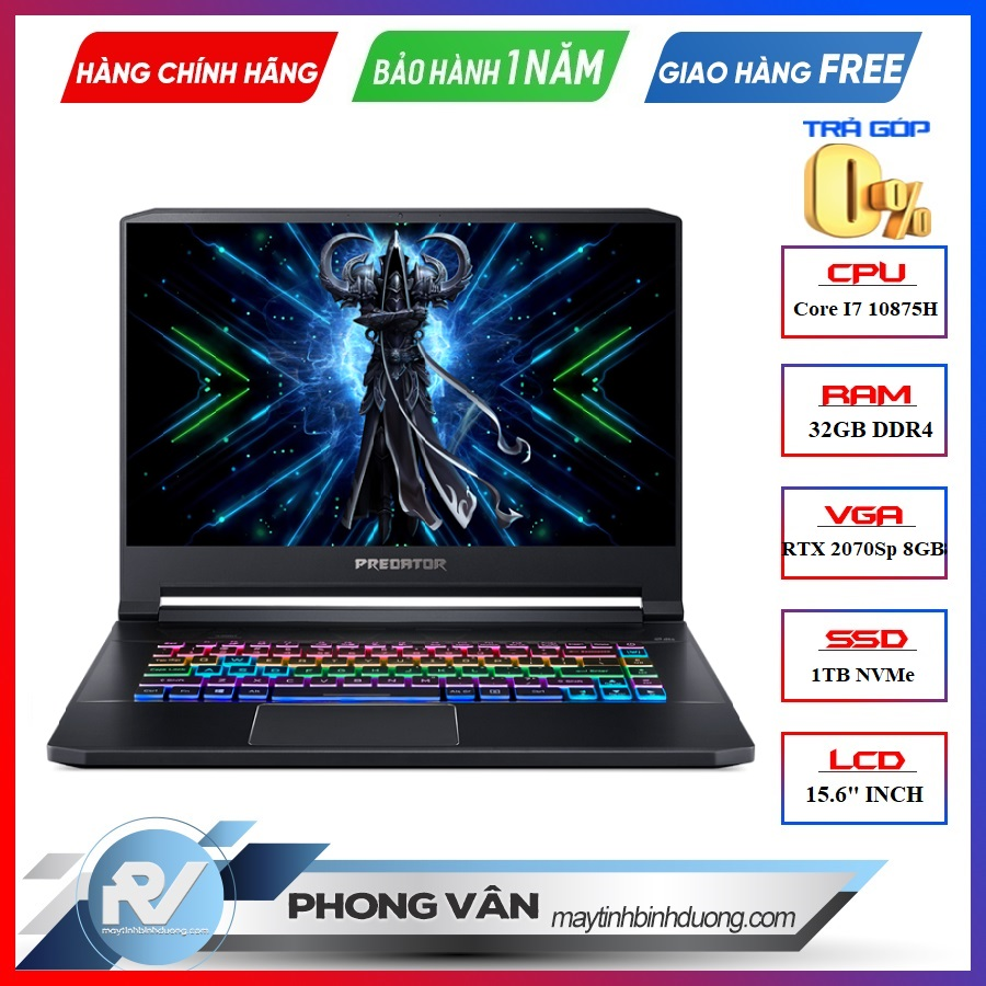 LAPTOP ACER PREDATOR TRITON 500 PT515-52-78PN NH.Q6XSV.001 INTEL CORE I7 10875H RTX 2070 SUPER 8GB 32GB RAM 1TB SSD 15.6FHD IPS 300HZ G-SYNC PERKEY RGB WIN 10 FPT