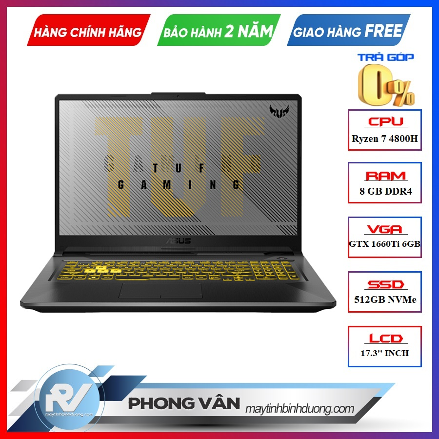 LAPTOP ASUS GAMING TUF FA706IU-H7133T RYZEN 7-4800H | GTX 1660TI 6GB | 8GB RAM | 512GB SSD | 17.3″ FHD IPS 120HZ | WIN10