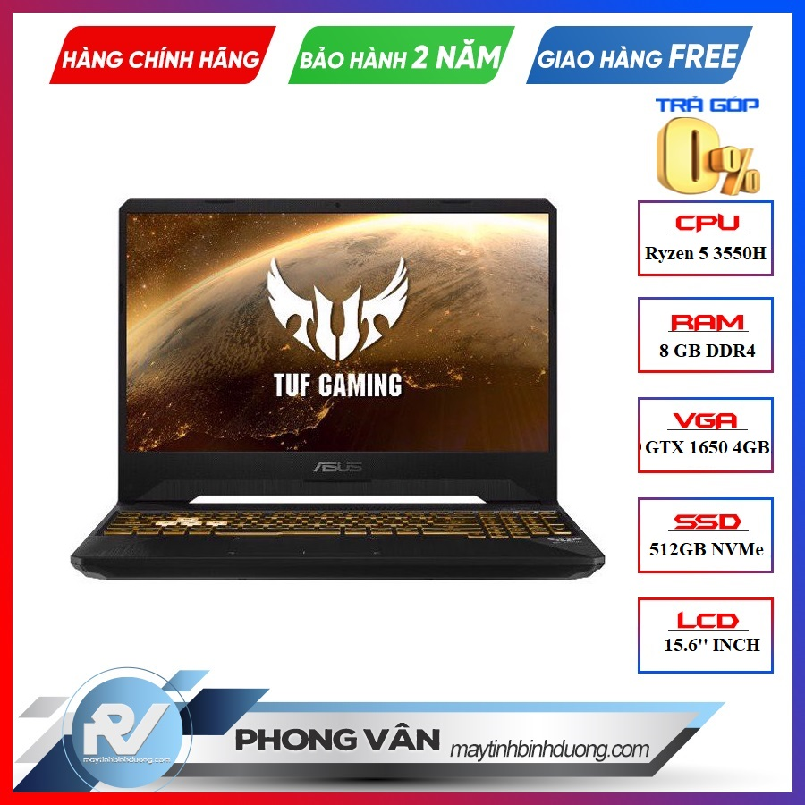 LAPTOP ASUS GAMING TUF FX505DT-AL118T GEFORCE GTX 1650 4GB RYZEN 5-3550H 8GB 512GB 15.6″ 120HZ IPS WIN 10 GOLD STEEL RGB