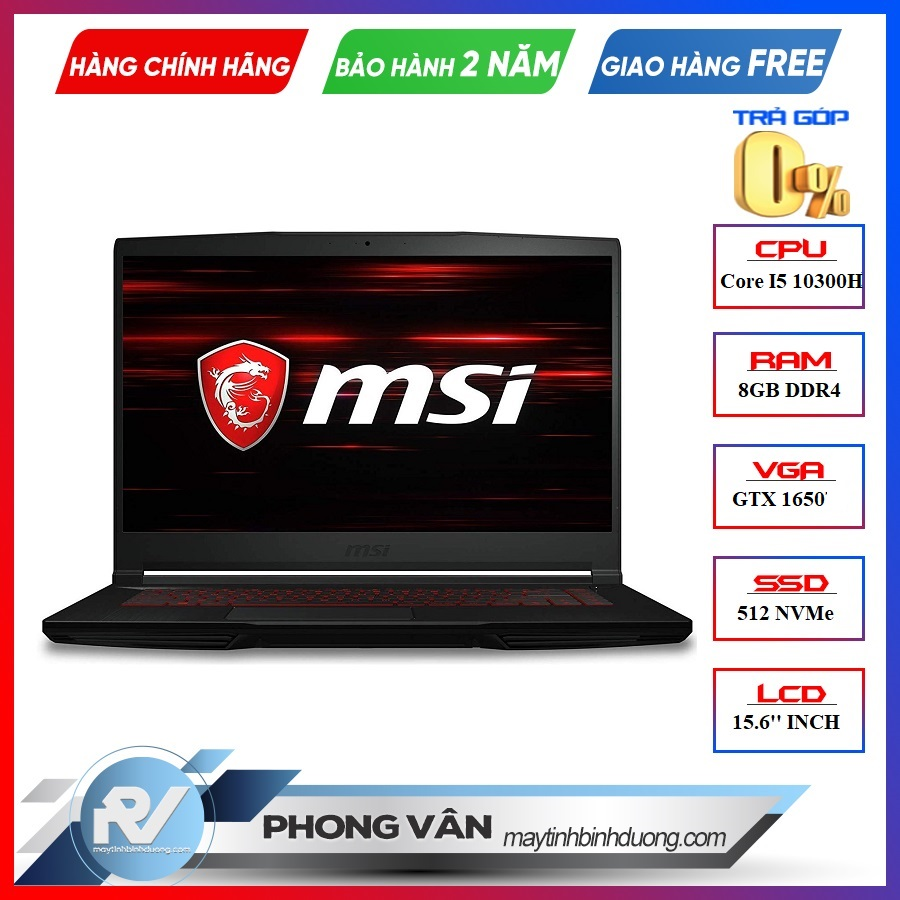LAPTOP GAMING MSI GF63 10SCXR - 292VN i5-10300H | GTX 1650 | 8GB DDR4 | SSD 512GB | 15.6'' FHD IPS | WIN 10