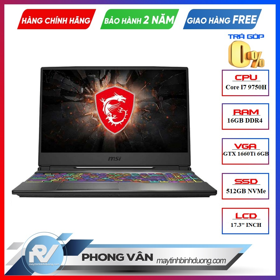 LAPTOP MSI GP75 LEOPARD 9SD 876VN i7-9750H | GTX 1660TI | 16GB RAM | 512GB SSD | 17.3'' FHD 144HZ | WIN10