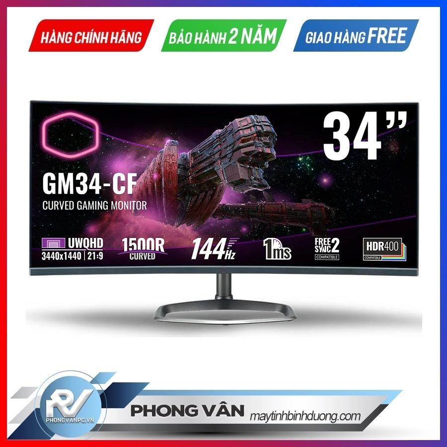 "Màn hình Gaming Cooler Master GM34-CW 34"" VA 2K 144Hz (cong)"