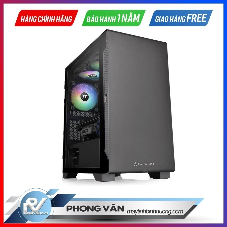 Vỏ Case Thermaltake S100 Tempered Glass (Mid Tower / Màu Đen)