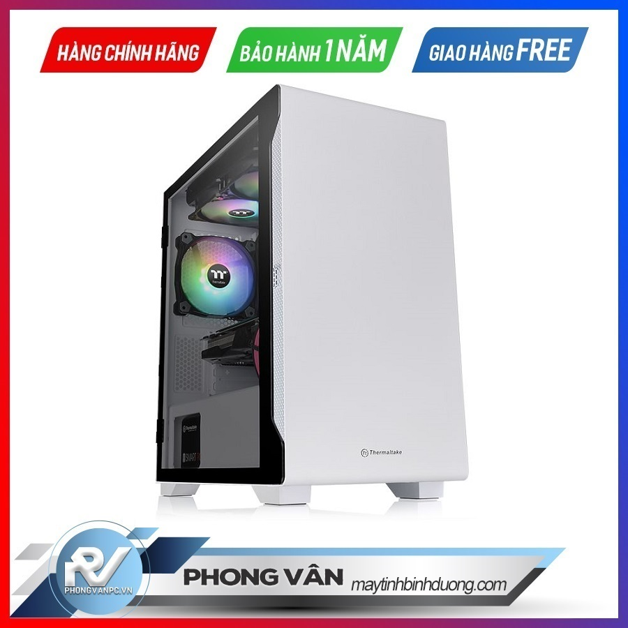 Vỏ Case Thermaltake S100 Tempered Glass Snow Edition (Mid Tower / Màu Trắng)