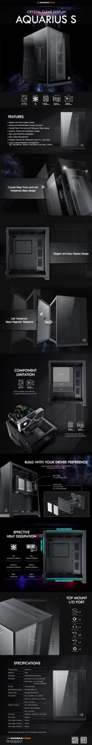 Vỏ Case Xigmatek AQUARIUS S BLACK - EN46508
