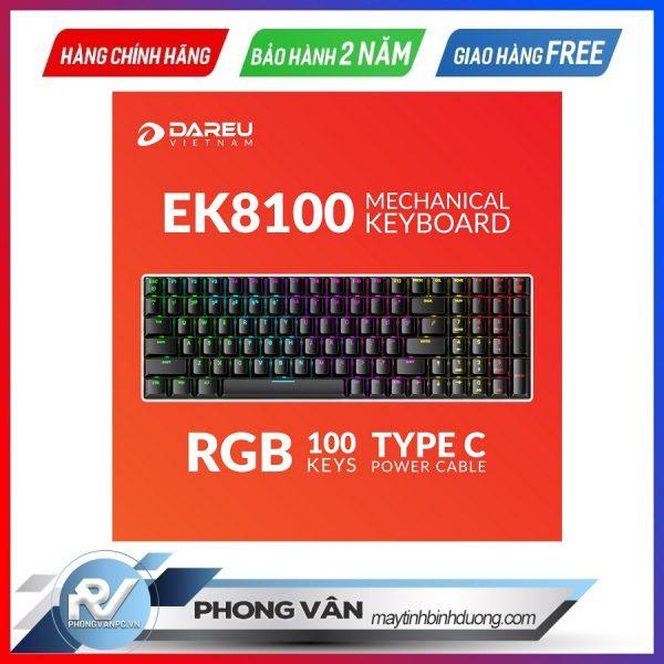 Bàn phím cơ DareU EK8100 RGB Black Blue switch